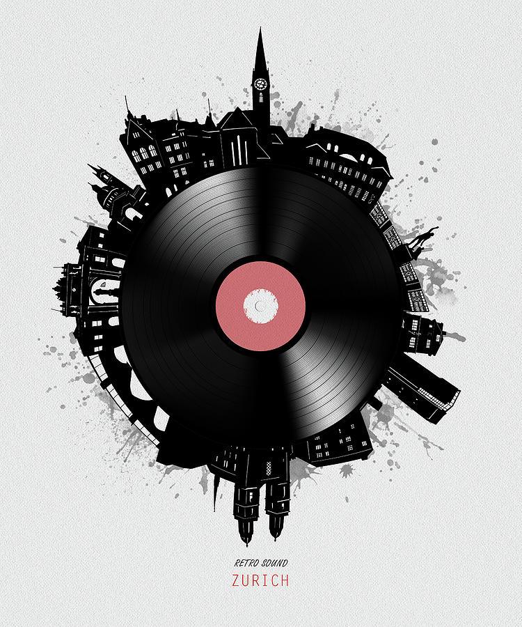 Zurich Skyline Vinyl Digital Art