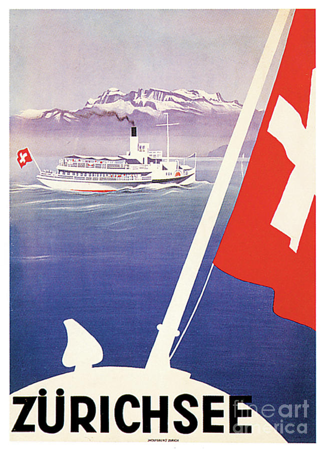 Zurichsee Travel Poster Painting