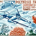 1965 French Polynesia Spearfishing Postage Stamp by Retro Graphics
