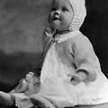 Baby Wearing Sweater Cap 1920s Black White Boy by Mark Goebel