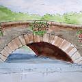 Baskets Of Flowers On Bridge To Westport Ireland by Carol Veiga