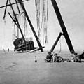 Beached Sailing Ship Circa 1900 Black White by Mark Goebel