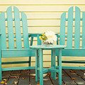 blue adirondack chairs  by Juli Scalzi