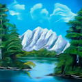 Blue Lake Mirror Reflection Dreamy Mirage by Claude Beaulac
