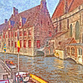 Boats Docked Along A Bruge Canal by Digital Photographic Arts