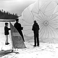 Boys Frozen Lake Parachute Sailboard Circa 1960 by Mark Goebel