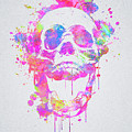 Cool And Trendy Pink Watercolor Skull by Philipp Rietz
