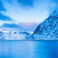 Cool Blue Dawn Over Mount Olstind by Richard Burdon