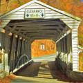 Covered Bridge Watercolor  by David Zanzinger