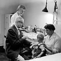 Doctor Giving Toddler Shot 1958 Black White Baby by Mark Goebel