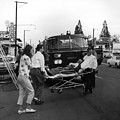 Fire Department Rescue Circa 1960 Black White by Mark Goebel