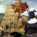 Galgo Espanol - Spanish Greyhound Art Canvas Print -the Tower Of Babel  by Sandra Sij