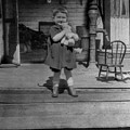 Girl Hugging Stuffed Animal Porch 1920s Black by Mark Goebel