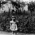 Girl Tomato Patch 1950s Black White Archive Kids by Mark Goebel
