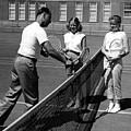 Girls Getting Tennis Lesson Circa 1960 Black by Mark Goebel