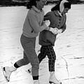 Girls Ice Skating Circa 1960 Black White 1950s by Mark Goebel