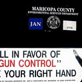 Gun Control Decal Black Canyon City Arizona 2004 by David Lee Guss