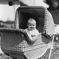Happy Baby In Wicker Buggy Fall 1925 Black White by Mark Goebel