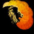 Lion Illustration Print Silhouette Print Night Predator by Sassan Filsoof