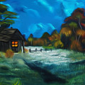 Little Pig's Barn In The Moonlight Dreamy Mirage by Claude Beaulac
