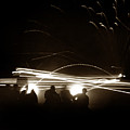 Night Firing Of Machine Gun Tracer Fire Fort Ord Circa 1942 by California Views Archives Mr Pat Hathaway Archives