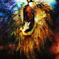 Painting Of A Mighty Roaring Lion Emerging From An Abstract Desert Pattern Pc Collage by Jozef Klopacka