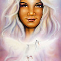 Painting Of A Young Girls Angelic Face With Radiant White Hair And A Shining Dove by Jozef Klopacka