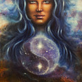 Painting On Canvas Of A Space Woman Goddess Lada As A Mighty Loving Guardian With Symbol  Jin Jang by Jozef Klopacka