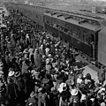 People Greeting Troop Train 19171918 Black White by Mark Goebel