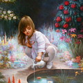 Pond And Girl by Yoo Choong Yeul