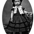 Portrait Headshot Girl In Bonnet 1880s Black by Mark Goebel