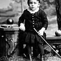 Portrait Headshot Toddler Walking Stick 1880s by Mark Goebel
