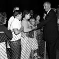 President Lyndon Johnson Shaking Childrens Hands by Mark Goebel