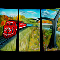 Red Train Passage Dreamy Mirage by Claude Beaulac