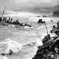 Shipwreck In Rough Seas 1940s Black White by Mark Goebel