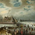 Skating On The Frozen Amstel River  by Celestial Images