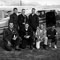 Skydiving Team Posing Airplane Circa 1960 Black by Mark Goebel