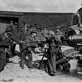 Soldiers Loading Cannon 19171918 Black White by Mark Goebel