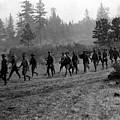 Soldiers Maneuvers Circa 1908 Black White 1900s by Mark Goebel