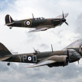 Spitfire And Blenheim by J Biggadike