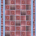 Striped Squares On A Blue Background by Elena Simonenko