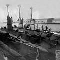 Submarines In Harbor Circa 1918 Black White by Mark Goebel