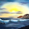 Sunset Beach Pastel Splash Dreamy Mirage by Claude Beaulac