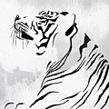 Tiger Animal Decorative Black And White Poster 3 - By Diana Van by Diana Van