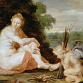 Venus And Cupid Warming Themselves  by Peter Paul Rubens