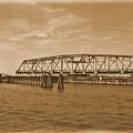 Vintage Swing Bridge In Sepia 4 by Bob Sample