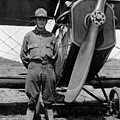 W Soldier Standing Biplane July 1923 Black White by Mark Goebel