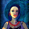 066 Woman With Red Necklace Av by Irmgard Schoendorf Welch