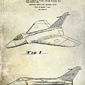1956 Jet Airplane Patent 2 Blue by Jon Neidert