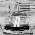1968 Amc Amx Javelin Muscle Car Art Print by Stephen Rooks